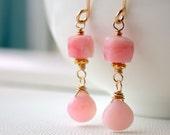 Valentine's Sale. Pink Opal Drop Earrings. Dangle. Artisan. Jewelry.