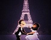 "Paris Art, Eiffel Tower Wall Art, Couple Wall Decor - ""Love In Paris"""