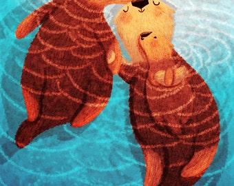 "Otter Art, Sea otters, Otter Love, Otter Blank Greeting Card - ""Three of us"""