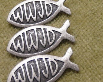 WWJD What Would Jesus Do Spiritual Religious Fish shape Buttons   A33