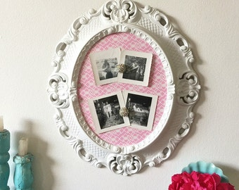 Upcycled Magnetic Memo Board, Fabric Board, Photo Display, Ornate Vintage Italian Frame, Pink White