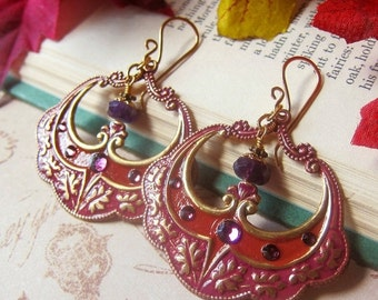 Sale - Confectionary Earrings in Cinnamon and Plum