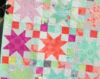 Baby QUILT PATTERN....Quick and Easy...Layer Cake and Fat Quarter friendly, Sara's Star