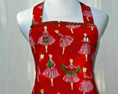 Ladies Apron With  Flirty Ruffle From Holiday Hostess Christmas Fabric