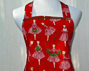 Christmas Apron With Flirty Ruffle From Holiday Hostess Fabric