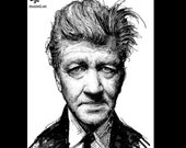 "Print 8x10"" - David Lynch - Director Portrait Science Fiction Horror Abstract Cult Film Surreal Noir Hitchcock Twin Peaks Eraserhead"