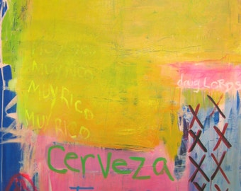 """GOING TO MEXICO original large contemporary abstract painting on canvas 54"""" x 40"""""""