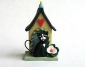 Miniature Tuxedo Cat House OOAK by C. Rohal