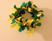 Handmade Green Gold Fabric Christmas Wreath Ornaments - Quantity Discount - Made to Order - Customizable in Team Colors