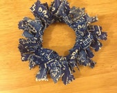 Handmade Blue White Bandana Fabric Christmas Wreath Ornaments - Your Choice of Colors - Made to Order - Customizable