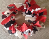 Handmade Red Black White Fabric Christmas Wreath Ornaments or Your Choice of Colors - Made to Order - Customizable