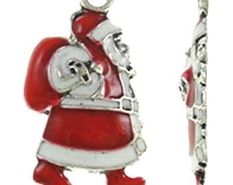 4pc 22x11mm metal Christmas Santa pendants with enamel-8292J