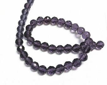 1 Strand 45pcs 8mm facted glass beads-724f