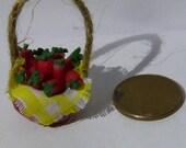 Realistic food Miniature Basket FULL of Fresh strawberry Dolls House Miniature Food diorama ooak art PR# 390