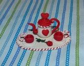 Valentine Dollhouse teapot set miniature