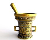 Vintage Brass Mortar and Pestle, Also can be used as Bell.  Ornate, Very tarnished and Naturally aged verdigris, V1282
