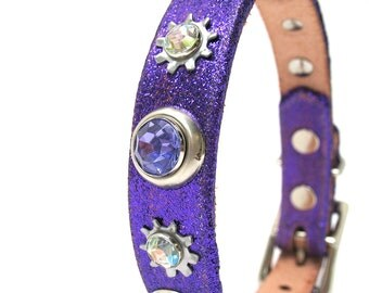 Leather Dog Collar in Glitter Royal Purple with Industrial Sparkles, Size XS/S, to fit a 9-12in Neck, EcoFriendly