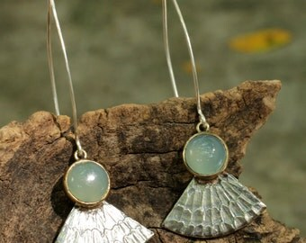 Blue chalcedony dangle earrings with silver and brass hand crafted accents