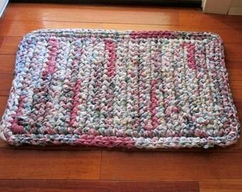 Rectangular Rag Rug - Cottage Chic Rug - Throw Rug - Kitchen Rug - Bedroom Rug - Bathroom Rug - Handmade Rug - Crochet Rag Rug - Mauve Pink