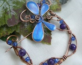 SPECIAL LISTING Whimsical Copper Wire Wrapped Dragonfly in the Garden Brooch
