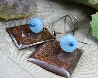 Celtic Knot Earrings ~ Stamped Celtic Earrings ~ Stamped Celtic Design ~ Celtic Earrings ~ Aquamarine Earrings ~ Brown and Blue Earrings