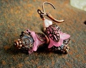 Fairy Pink, Flower Earrings, Faery Couture, Bell Flowers, Pink & Copper, Opalescent Crystal, Girlie Earrings, Elksong Jewelry, Fairy Dusters