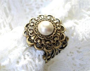 Victorian Style Ivory Glass Pearl Ring - Adjustable Antiqued Brass Ring