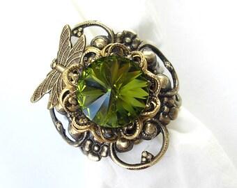 Mossy Glen Dragonfly Olivine Rivoli Ring in Antiqued Brass