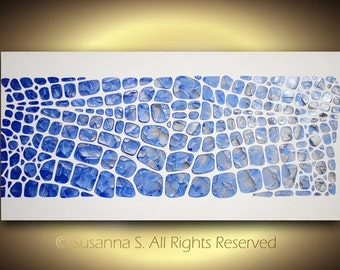 ORIGINAL Large Silver White Blue Abstract Painting Modern Palette Knife Wall Art Deco Impasto Textured Canvas 48x24 MADE2ORDER by Susanna