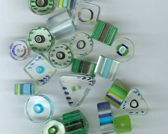 Green and Blue Glass Beads Mixed sizes and shapes 1032T