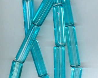 28x6mm Sky Blue Large Rectangle Glass Beads