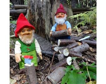 Notecard, Gnomes Gathering Firewood