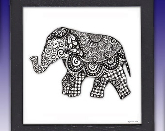 Framed Elephant Pen and Ink Print