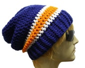 Slouchy Hat Crochet Slouch Beanie College Football Sports Fan Tailgating Hat Pick Your School or Team Colors Mens or Womens