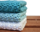 Crochet Dishcloths Cotton Dishcloths Washcloths Turquoise Blue
