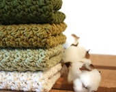 Crochet Cotton Dishcloth Kitchen Scrubbies Cotton Washcloth Shades of Green / You pick the size