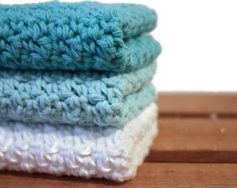 Crochet Dishcloths Cotton Dishcloths Washcloths Turquoise Blue