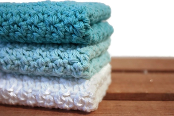 Crochet Dishcloths Cotton Dishcloths Washcloths Turquoise Blue set of 3