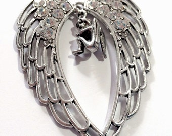 Angel with Wings and Rhinestones Pendant - Extra Large Pendant
