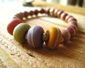 Lampwork Bracelet, Artisan Glass, Natural Rosewood, Artisan Charm, Fall Colors, Stretch Bracelet, Etched Glass Glass Lampwork Womens Jewelry