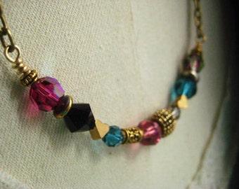 SALE Originally 49.00 Now 39.00 Crystal Necklace, Brass Chain, Swarovski Crystals, Golden Beads, Brass Hearts, Womens Jewelry, candies64