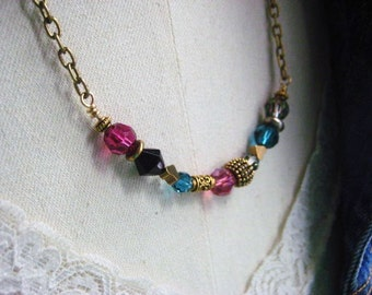 Crystal Necklace, Brass Chain, Swarovski Crystals, Golden Beads, Brass Hearts, Womens Jewelry, candies64