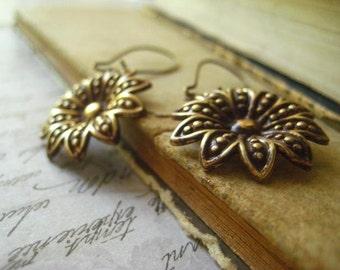 Sunflower Earrings, Pure Brass, Vintaj Flowers, Golden Brass, Gold Flowers, Kidney Earwires, Antiqued Brass, women's jewelry, candies64