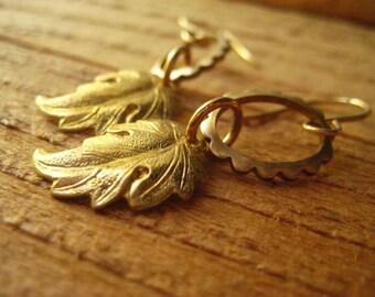 Gold Leaf Earrings, Pure Brass, Golden Leaves, Fall Earring, Autumn Jewelry, Dangling Earrings,,  Womens Jewelry Scalloped Frames Oval Frame