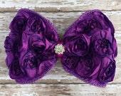 Deep Purple Rosette Bow Hair Clip, Rhinestone, Photo Prop, Wedding Hair Clip, Bridal Clip, Flower Girl, Children, Little Girl Hair Clip