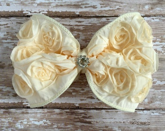Cream Hair Bow, Cream Rosette Hair Clip, Large Hair Bow, Cream Bow, Wedding Hair Bow, Flower Girl Hair Bow, Bridal Hair Bow, Big Hair Bow