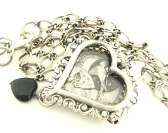 Sparrow Black Heart Under Glass, Silver  Steampunk Necklace, Steampunk Heart, Steampunk Jewelry, Victorian, Heart, One of a Kind