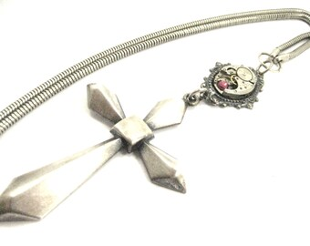Big Silver Cross   ... Steampunk Watch Movement Victorian Silver Cross One of a Kind Creation