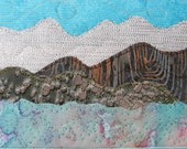 Landscape Postcard, Handmade Quilted Greeting Card, Fiber Art, Outdoor, Nature, Spring, Summer, Hills and Mountains