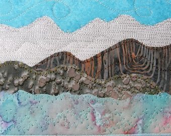 Mountain Art Landscape Postcard Handmade Quilted Greeting Card Fiber Art Outdoor Nature Spring Summer Hills Landscape Cabin Art Mom Gift